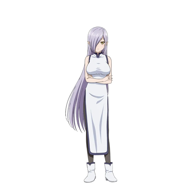 A character setting of Carrot, a former demon who appears as a busty elven woman with lilac hair and yellow eyes, dressed in a form-fitting cheongsam dress, tights, and boots from the upcoming Peach Boy Riverside TV anime.