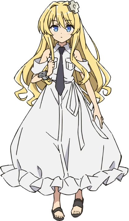 A character setting of Alice Kisaragi, an android in the shape of a small blonde-haired, blue-eyed girl in a frilly white dress and also one of the main characters from the upcoming Combatants Will Be Dispatched! TV anime.