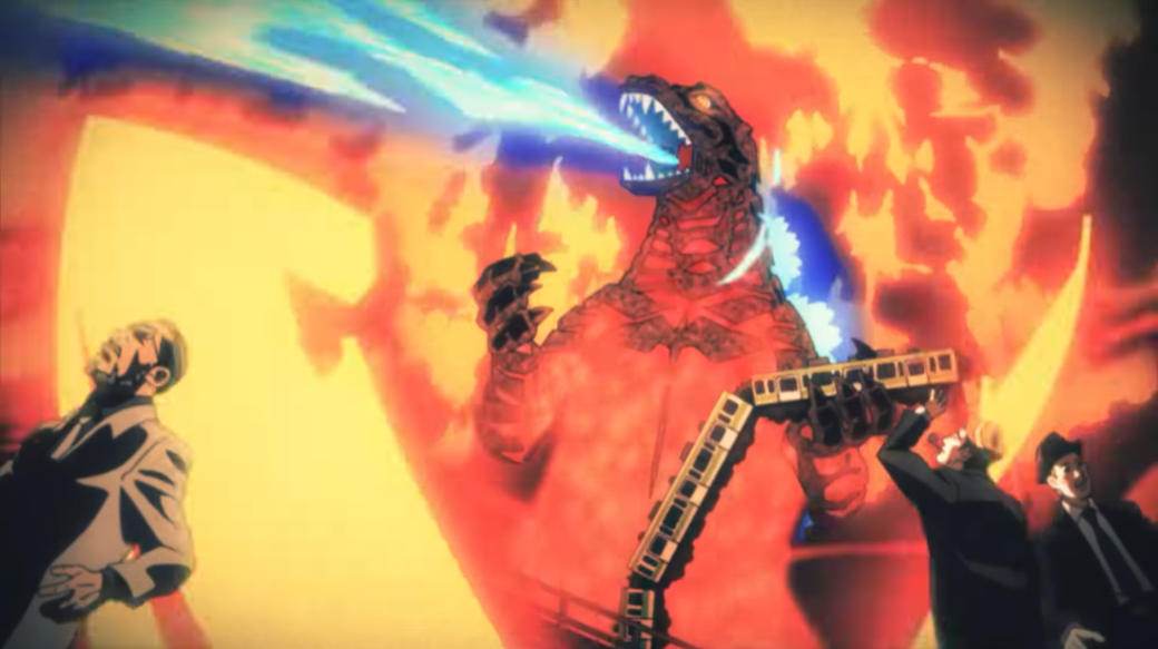 Godzilla blasts radioactive fire breath and demolishes a train in a scene reminiscent of the original 1954 film from the ending animation for the Godzilla Singular Point Netflix original anime.