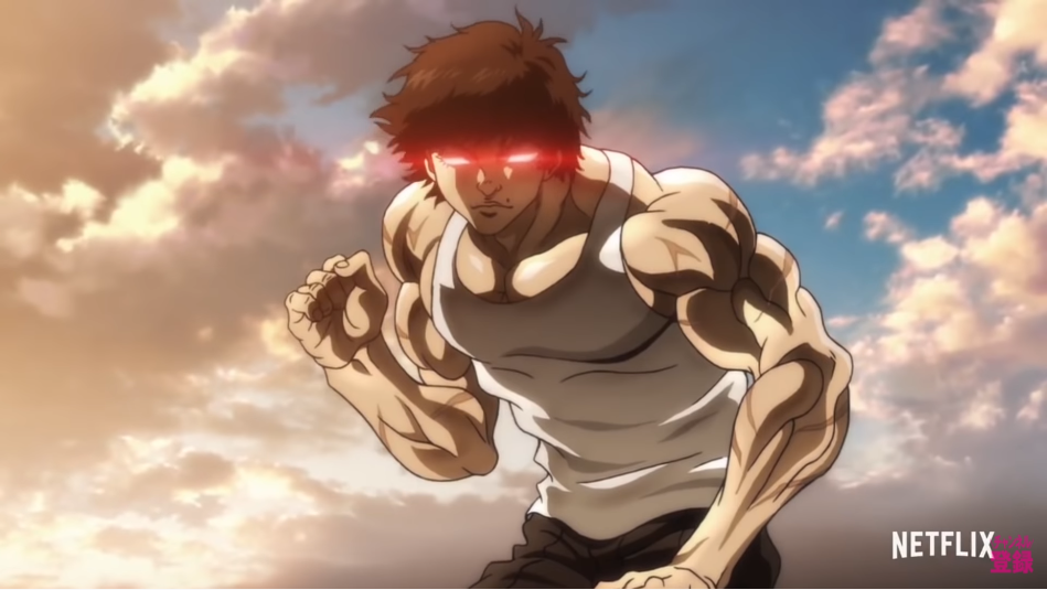 Baki Hanma strikes a fighting pose while his eyes glow red with malevolent power in a scene from the upcoming Baki: Son of Ogre Netflix original anime series.