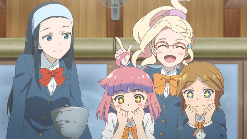 Himeno Toyokawa and her friends admire a hand-thrown clay bowl in a scene from the Let's Make a Mug Too TV anime.