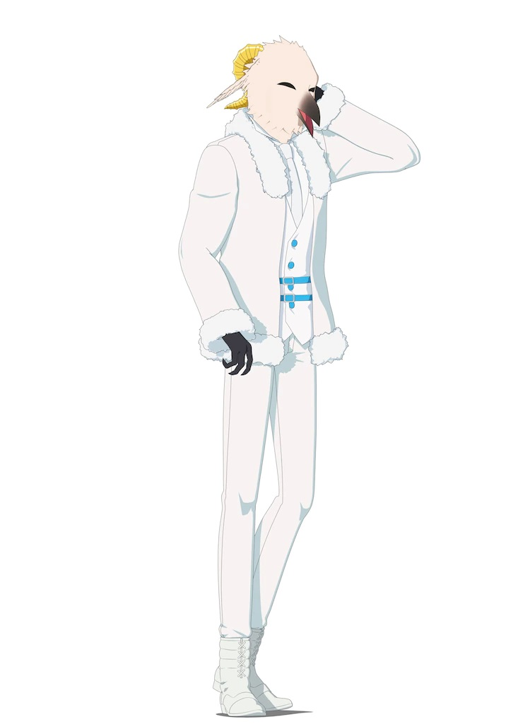 A character setting of Zain from the upcoming The Duke of Death and His Maid TV anime. Zain appears as a tall, slender, humanoid bird with a pair of curved horns protruding from the back of his head. He wears a fur trimmed white jacket, white vest with blue, white tie, white shirt, white slacks, and white riding boots. His hands are black, three-fingered talons, his beak is black, and his feathers are a white color like aged ivory.
