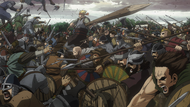 Thorkell the Tall leads his warriors into a brutal melee in the Vinland Saga TV anime.
