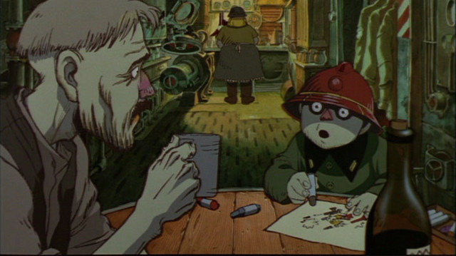 A family prepares for their war-time duties in a scene from the 1995 Memories anthology film, based on the manga by Katsuhiro Otomo.