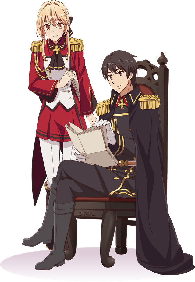 A key visual for the upcoming How a Realist Hero Rebuilt the Kingdom TV anime, featuring main characters Kazuya Souma and Liscia Elfrieden consulting with one another. Liscia is dressed in an elaborate red and white military uniform and leans forward while carrying paperwork, while Kazuya wears a similar black and gold military uniform while he sits in a throne and rifles through a stack of papers.