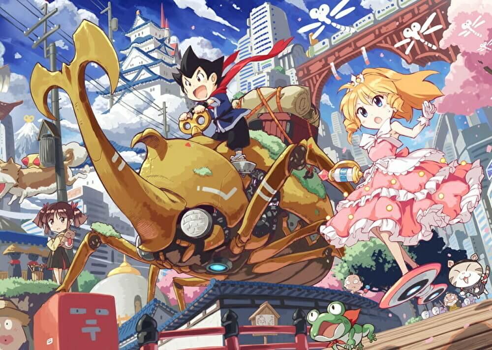Una imagen clave para el próximo proyecto de anime 2D original de NINJAXIS, con el héroe Nejiemon Banemaki y la heroína Clorissa de Windup-Spring, así como los personajes secundarios Ohane-chan y Torajimanekonosuke corriendo por una carretera en las afueras de la ciudad de Karakuri.  Nejiemon monta un enorme juguete de cuerda con la forma de un escarabajo kabuto dorado.