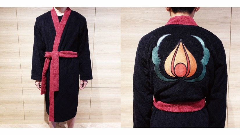 A promotional image of the Hozuki's Coolheadedness bath robe, designed to resemble Hozuki's signature kimono with an emblem of a persimmon on the back.