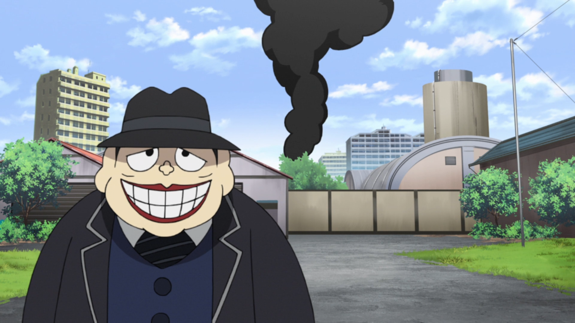 Moguro Fukuzo strolls away from the backlot of a movie studio while a pillar of smoke rises high into the sky behind him in a scene from the 2017 The Laughing Salesman TV anime.
