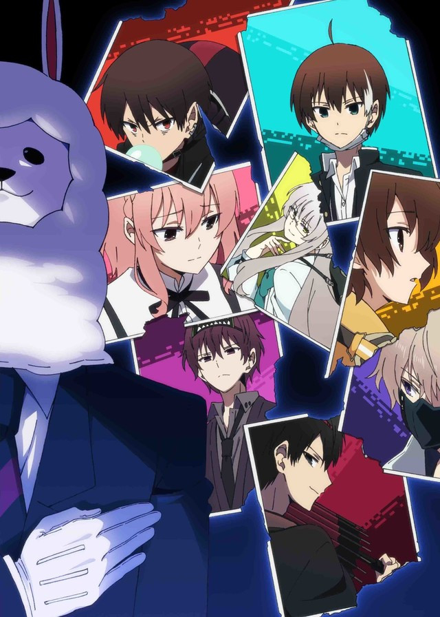 A collage of the main characters of The Ones Within, with the sinister game-master Alpaca-san in the foreground.