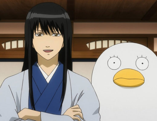 Kotaro Katsura (and Elizabeth) engage in genial conversation in a scene from the Gintama TV anime.