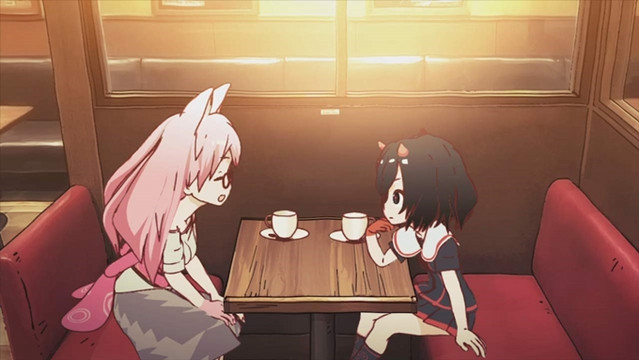 Neko and Oni share a cup of tea at a trendy cafe in Nakano Broadway in a scene from the Hentatsu short film series.