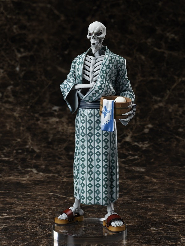 A promotional image of the Ainz Ooal Gown 1/8 scale yukata figure, featuring the undead lich overlord Ainz Ooal Gown dressed in a summer kimono and sandals while carrying a wooden tub filled with soap, a towel, and bath supplies.
