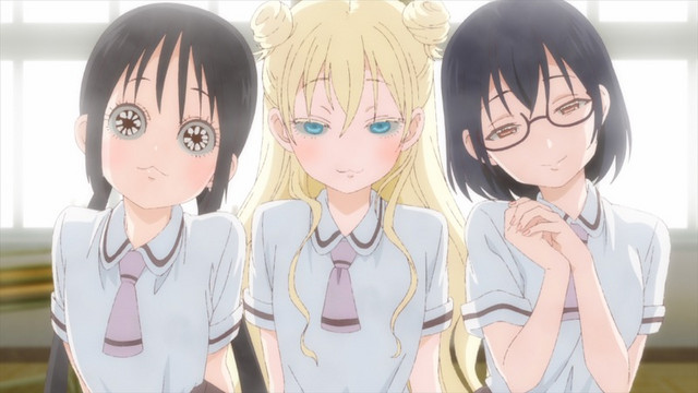 Hanako, Olivia, and Kasumi blackmail Miss Higuchi into being the advisor for their Pastimers' Club.