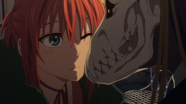 Chise and Elias share a tender moment in a screen capture from the 2016 The Ancient Magus' Bride TV anime.
