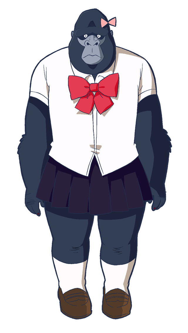 Gorimi, a gorilla gal wearing a sailor suit and a ribbon in her hair.