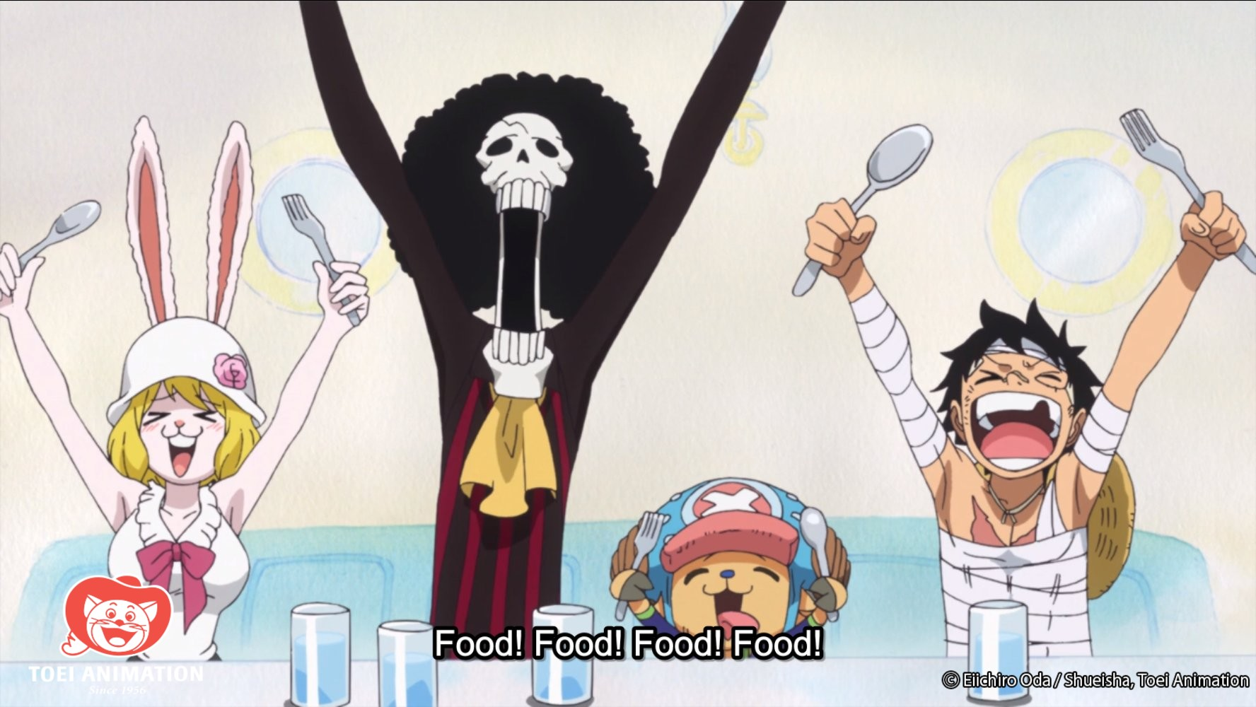 Carrot, Brook, Chopper, and Luffy clamor for Sanji's cooking in a scene from the One Piece TV anime.