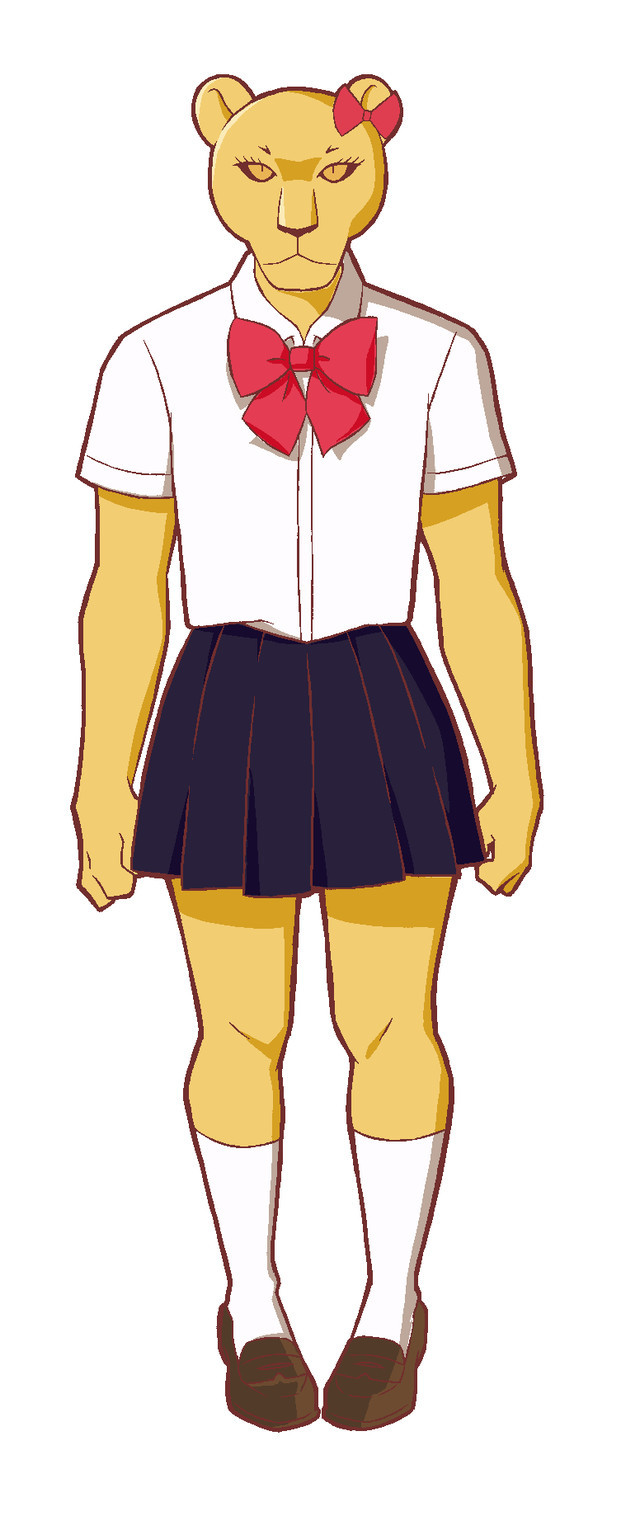 Shishimura, a lioness gal wearing a sailor suit and a ribbon in her hair.