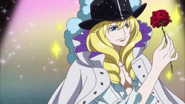 Cavendish brandishes a rose in a scene from the One Piece TV anime.
