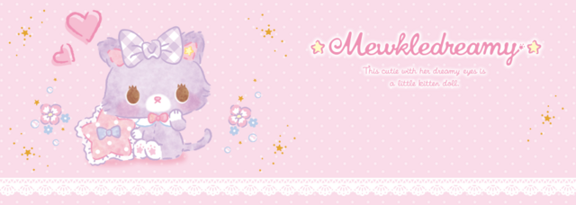 A banner image for Mewkle Dreamy, a Sanrio mascot character that appears as a purple kitten stuffed animal.