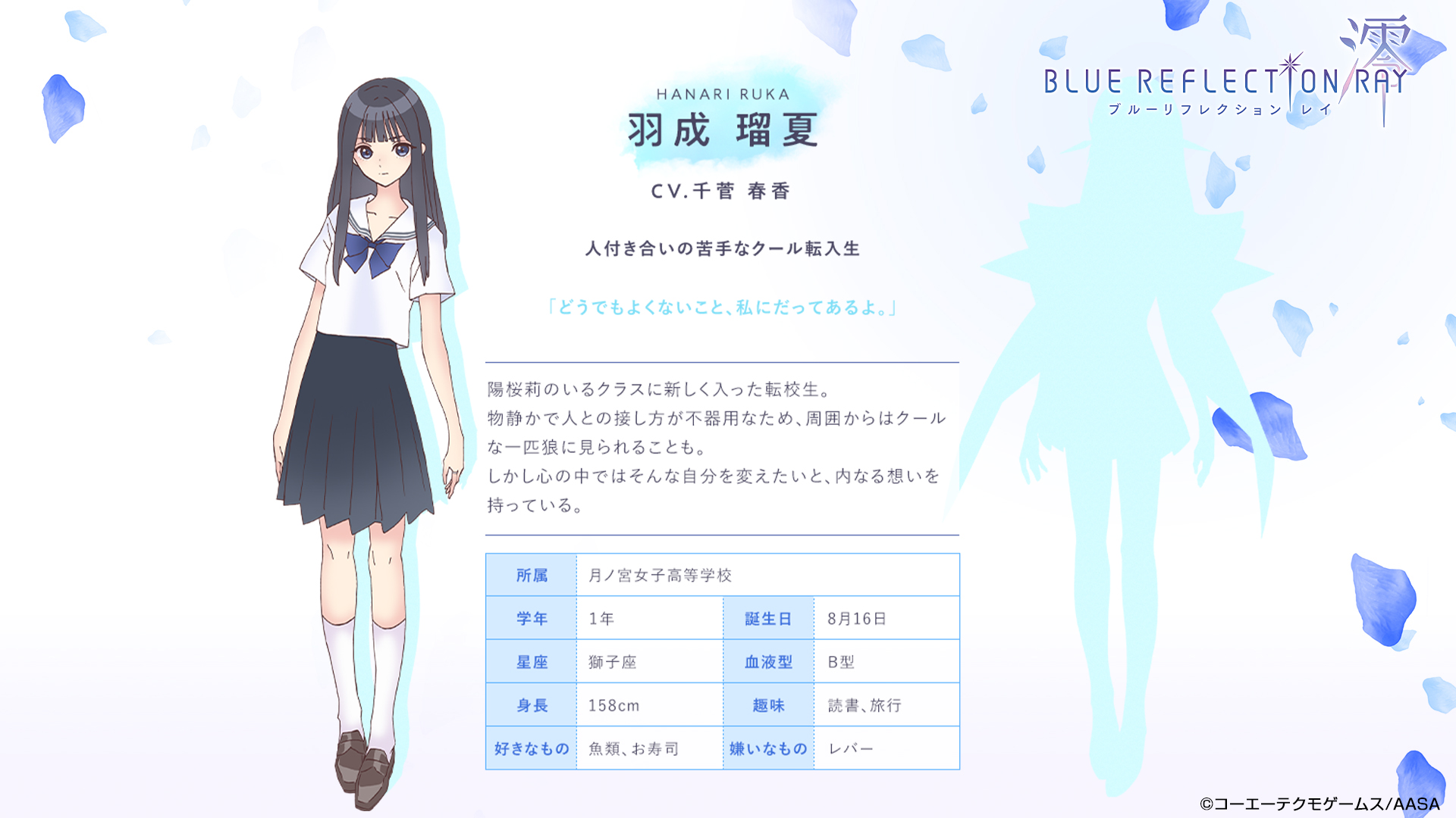 Un escenario de personajes de Ruka Hanari, una chica de secundaria con cabello largo y oscuro que está vestida con su uniforme escolar, del próximo anime de BLUE REFLECTION RAY / Mio TV.