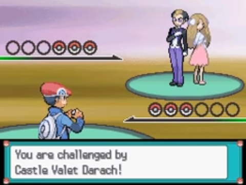 A screenshot from Pokémon Platinum, showcasing a battle against the Frontier Brain Darach