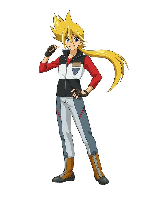 A character visual of Gou Mach, a slim young man with long blonde hair in a ponytail from the upcoming Tomica Kizuna Gattai: EARTH GRANNER TV anime.
