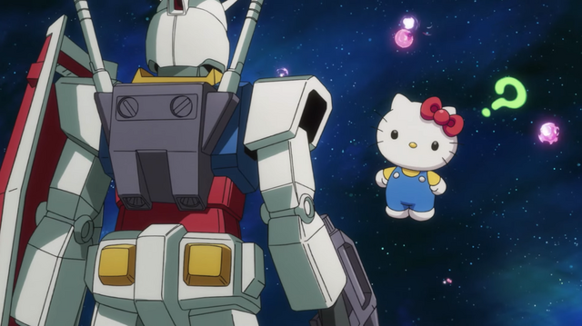 Amuro Ray in his RX-78-2 Gundam shares a meeting of the minds with Hello Kitty in deep space.