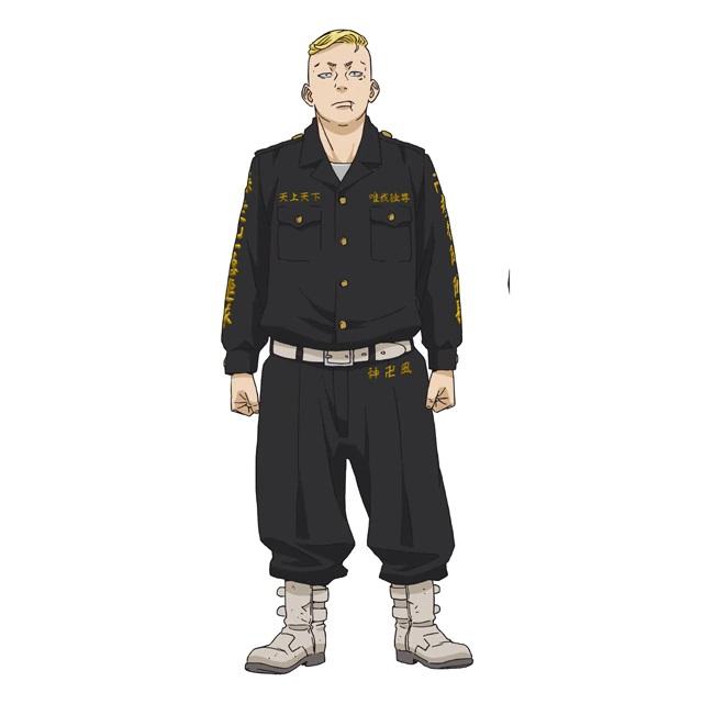 Un escenario de personajes de Haruki Hayashida, un delincuente fornido con cabello rubio liso y una cicatriz debajo de su labio inferior del próximo anime de televisión Tokyo Revengers.