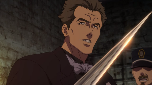 E.J. Daven Thaw brandishes a knife in a screen capture from the Fairy gone TV anime.