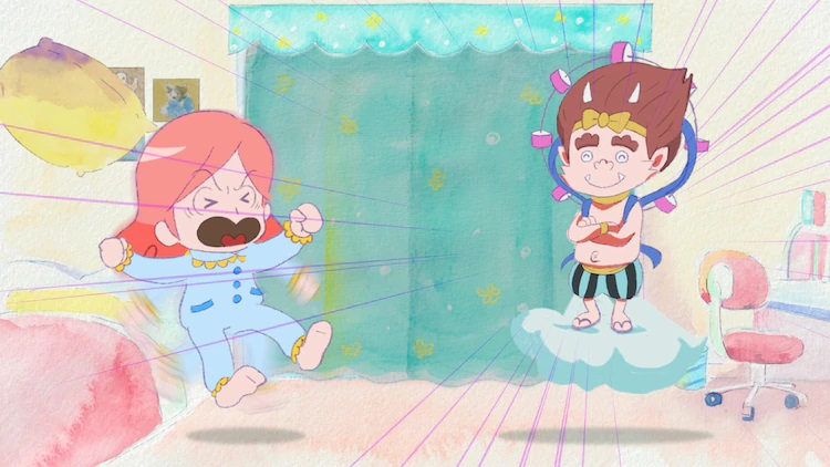 Heroine Tenkorin Okakura, a high school girl in her pajamas, yells at the thunder god Raijin for barging into her bedroom in a scene from the upcoming Oshiete Hokusai! THE ANIMATION web anime.