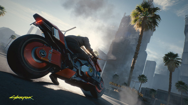 A motorcyclist pilots a high tech street bike in the upcoming Cyberpunk 2077 video game.