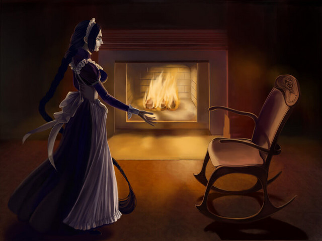 The maid beckons.
