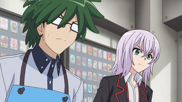 Shinemon Nitta, manager of the Capital Card shop, looks nervous in a screencap from the CARDFIGHT!! VANGUARD TV anime.