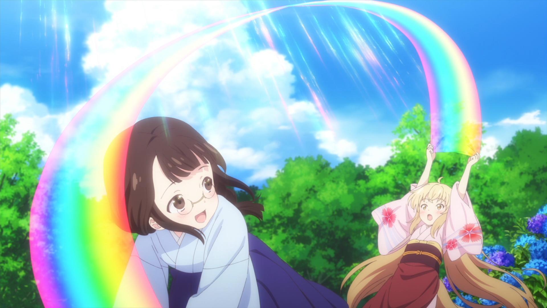 Yuzu ayuda a un invitado del espíritu del clima a estirar un arco iris en una escena del anime televisivo KONOHANA KITAN 2017.