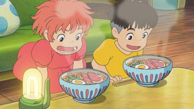 Ponyo and Sosuke prepare to enjoy a serving of ham ramen in a scene from the 2008 Studio Ghibli film, Ponyo.