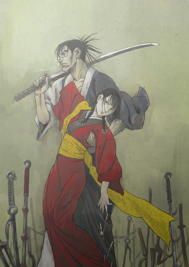 A new key visual for the 2019 Blade of the Immortal TV anime, featuring the main characters, Manji and Asano Rin, posing amid a field of discarded weapons.