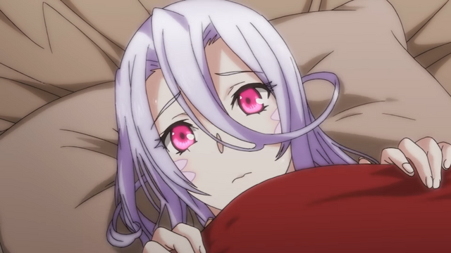Lamia girl Saphentite Neikes hides under the covers is a scene from the Monster Girl Doctor TV anime.