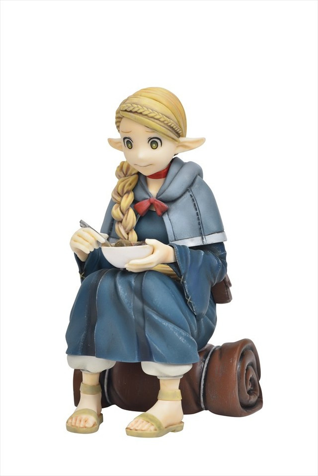 Using her bedroll as an impromptu chair, the elven mage Marcille chows down on a bowl of dungeon stew.