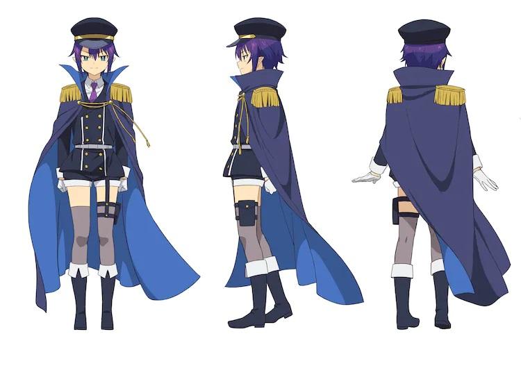 ¡Un escenario de personajes de Saurva, un demonio de alto rango del próximo The Great Jahy Will Not Be Derrotado!  Anime de TV.  Saurva aparece como una joven esbelta con cabello morado, ojos verdes y orejas puntiagudas.  Viste uniforme militar con gorra y capa.