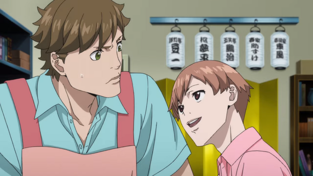 Dr. John Watson is perturbed by the teasing of a young James Moriarty in the Kabukicho Sherlock TV anime.
