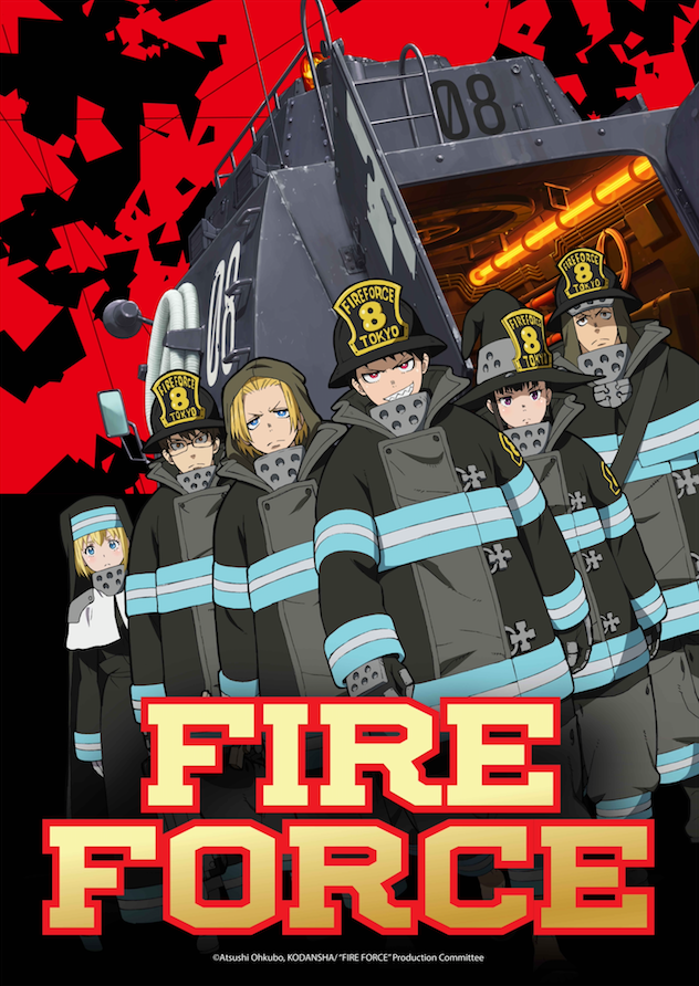 The main cast of Fire Force prepares to do battle with supernatural flames.