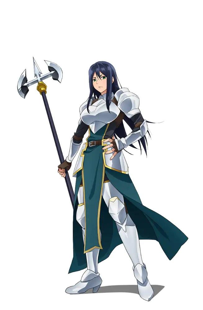 Un escenario de personajes de Theodora del próximo anime de televisión Banished from the Hero's Party.  Theodora es una mujer imponente con cabello largo y oscuro y ojos verdes vestida con una armadura de placas completa y empuñando una alabarda.