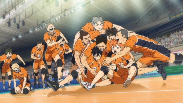 Karasuno celebra la victoria