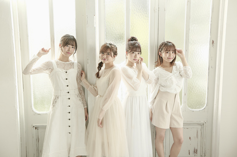 A promotional image for the Healer Girls anisong vocal unit, composed of Karin Isobe, Marina Horiuchi, Akane Kumada, and Chihaya Yoshitake.