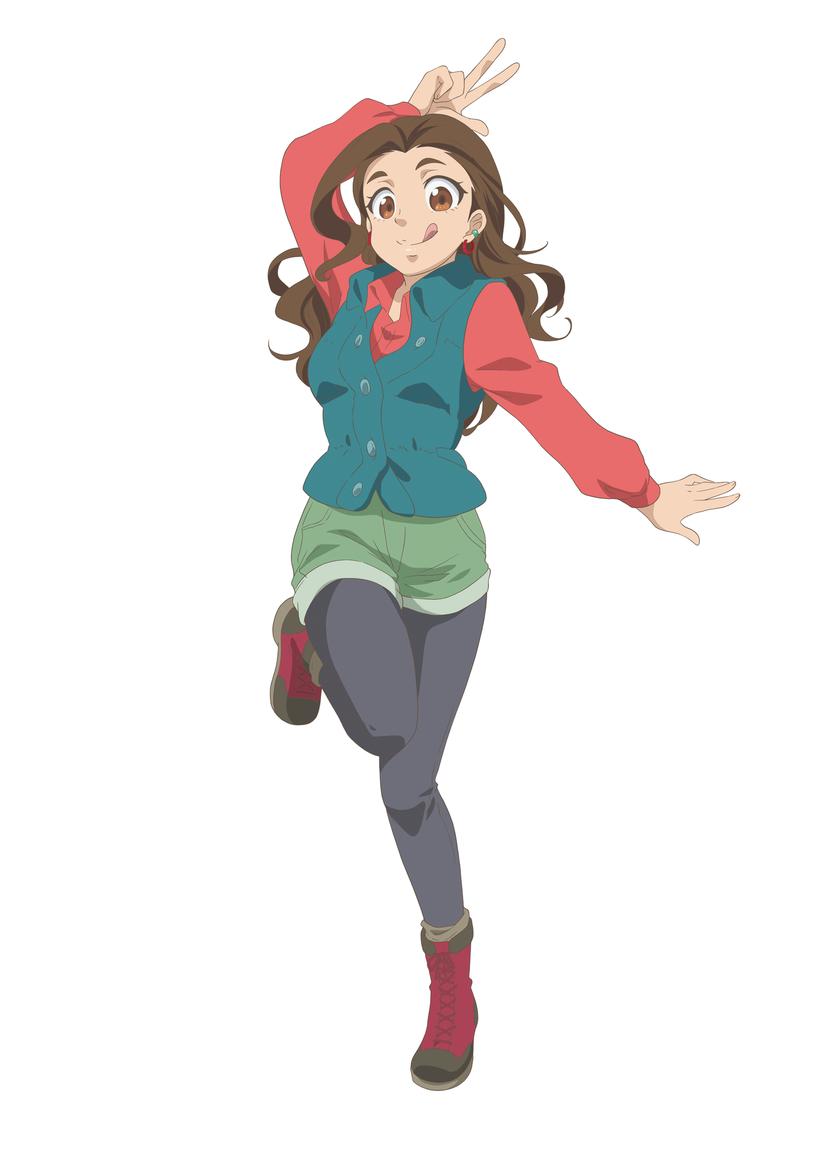 Un escenario de personajes de Himena Valdez del próximo anime de televisión Let's Make a Mug Too.  Himena es una chica algo curvilínea con piel bronceada, cabello castaño ondulado y ojos marrones.  Viste una camisa roja de manga larga, un chaleco de mezclilla azul, pantalones cortos de mezclilla verde, mallas negras y botas de trabajo color burdeos.