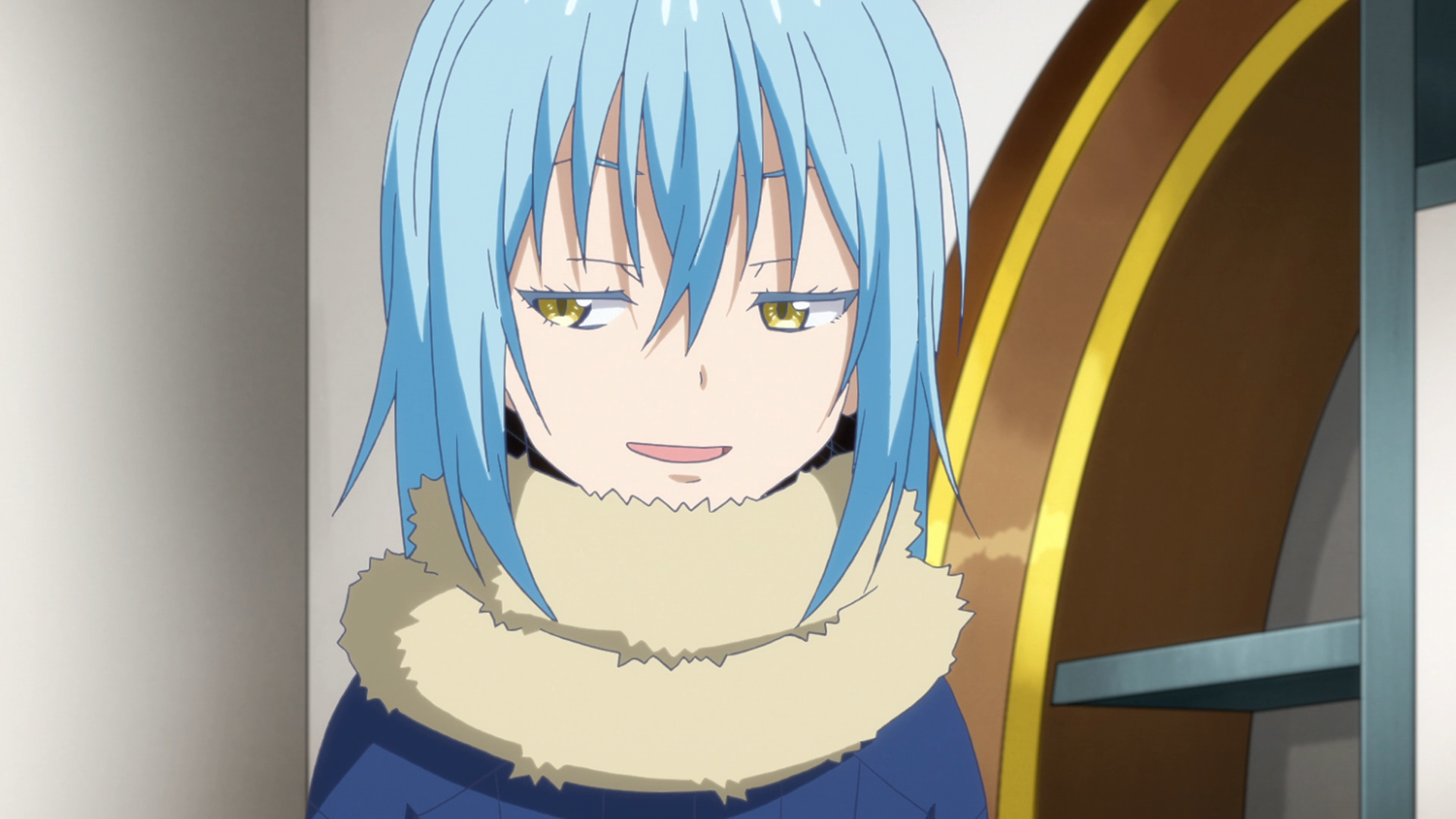 In human form, Rimiru sports a smug expression while attempting to introduce himself to Shizu's students in a scene from the That Time I Got Reincarnated as a Slime TV anime.