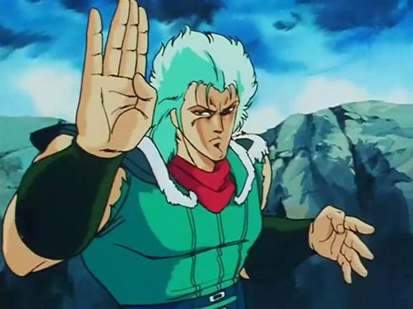 Rei assumes a martial arts stance in a scene from the Fist of the North Star TV anime.