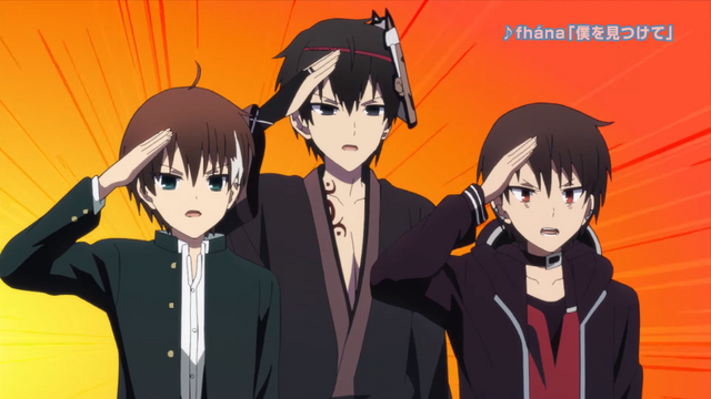 Three of the male characters from The Ones Within TV anime engage in a spirited salute.