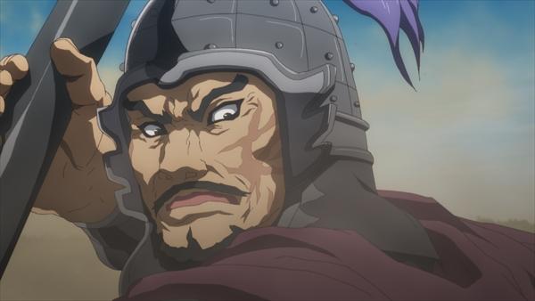 A battle-scarred general wields a polearm in a scene from the Kingdom TV anime.
