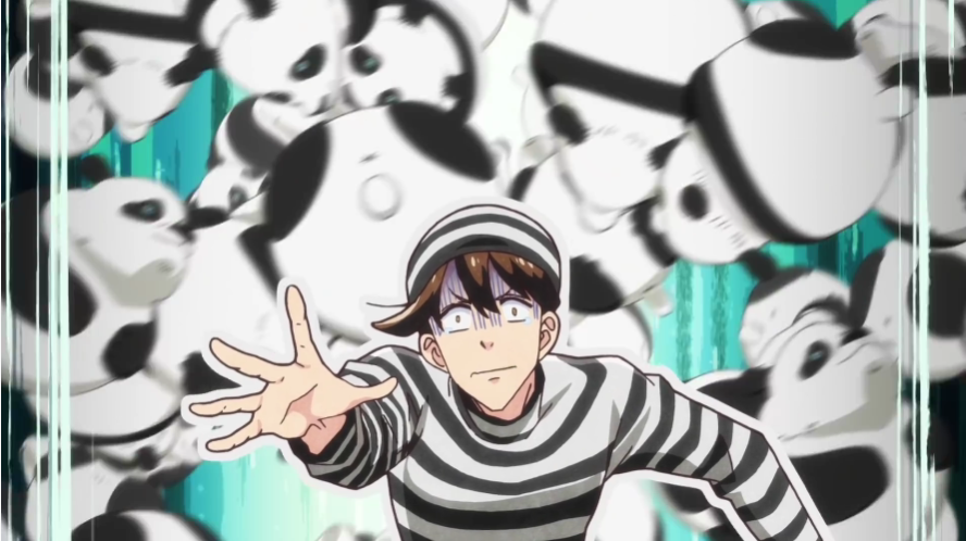 Shimoda is overwhelmed by the concept of panda bears in a scene from the upcoming Heaven's Design Team TV anime.